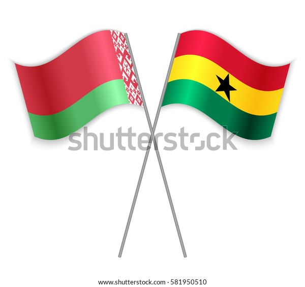 Belarusian and Ghanaian crossed flags. Belarus combined with Ghana isolated on white. Language learning, international business or travel concept.