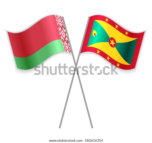 Belarusian and Grenadian crossed flags. Belarus combined with Grenada isolated on white. Language learning, international business or travel concept.