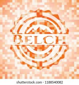 Belch abstract emblem, orange mosaic background