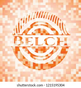 Belch abstract orange mosaic emblem with background
