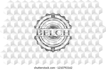 Belch grey emblem. Vintage with geometric cube white background