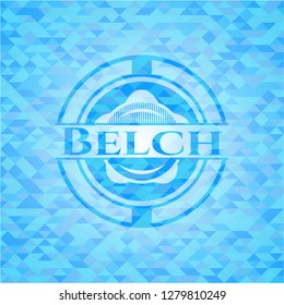 Belch sky blue emblem with triangle mosaic background