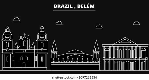 Belem silhouette skyline. Brazil - Belem vector city, brazilian linear architecture, buildings. Belem travel illustration, outline landmarks. Brazil flat icons, brazilian line banner