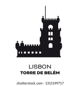 Belem Tower at Lisbon, Portugal,  silhouette vector illustration