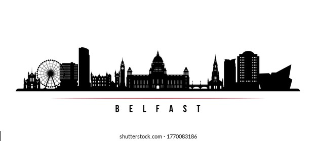 Belfast skyline horizontal banner. Black and white silhouette of Belfast, Northern Ireland. Vector template for your design.