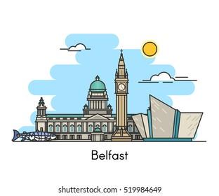 Belfast skyline . Ireland, United Kingdom