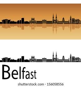 Belfast skyline in orange background in editable vector file
