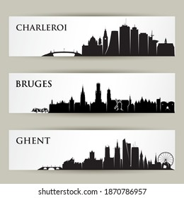 Belgian cities skylines - Charleroi, Bruges, Ghent isolated vector illustration