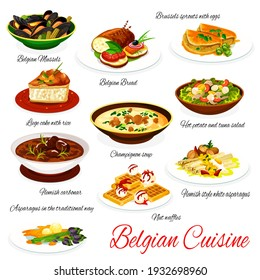 Belgian cuisine vector menu meals mussels, bread and Brussels sprouts with eggs, liege cake with rice, champignon soup and hot potato with tuna salad. Hemish carbonar, nut waffles Belgium food dishes
