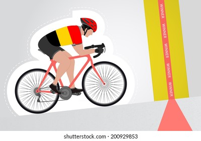 Belgian cyclist riding upwards to finish line vector isolated illustration