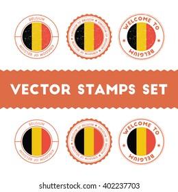Belgian Flag Grunge Rubber Stamp Designs of Belgium National Colors. Set of Belgian Flag Color Ink Stamps. Textured Vector Illustration.