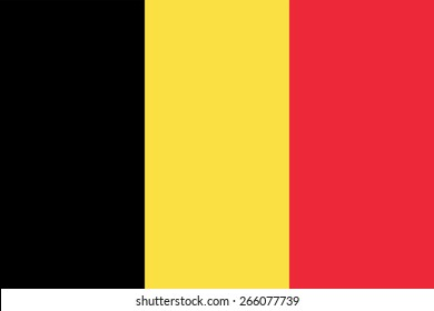Belgian flag. State government symbol of the country. True proportions and colors. Consists of three vertical stripes - black, yellow and red. Can be used to refer Belgium in design and maps.