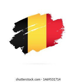 Belgian flag. Vector illustration on a white background. Brush strokes are drawn by hand. Independence Day in Belgium.