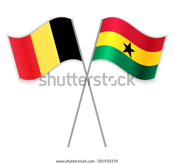 Belgian and Ghanaian crossed flags. Belgium combined with Ghana isolated on white. Language learning, international business or travel concept.