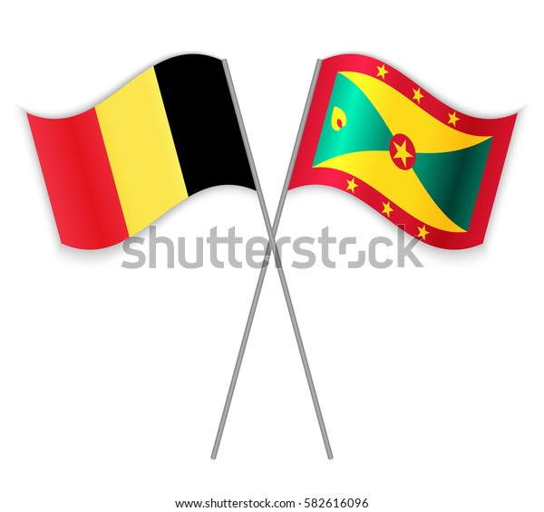 Belgian and Grenadian crossed flags. Belgium combined with Grenada isolated on white. Language learning, international business or travel concept.