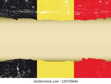 Belgian scratched flag. A belgian flag with a large frame for your message