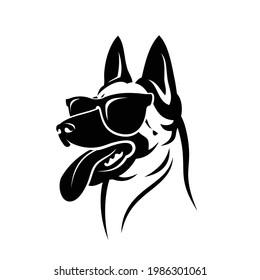 Belgian shepherd dog Malinois with sunglasses - isolated vector illustration