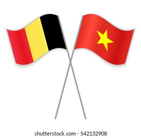 Belgian and Vietnamese crossed flags. Belgium combined with Vietnam isolated on white. Language learning, international business or travel concept.