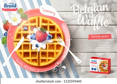 Belgian waffle ads with delicious fruit and cream in 3d illustration on outdoor white wooden table, top view