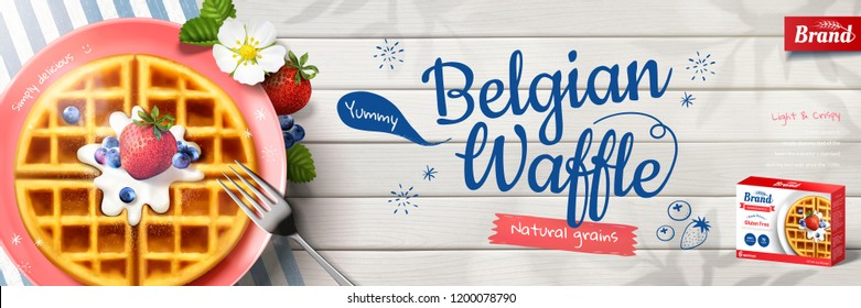 Belgian waffle banner ads with delicious pancake on wooden table, flat lay perspective in 3d illustration