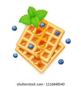 Belgian Waffle, blueberries, honey and peppermint. Dessert sweetness. Lunch cooking. Blueberry decoration. Isolated white background. EPS10 vector illustration.