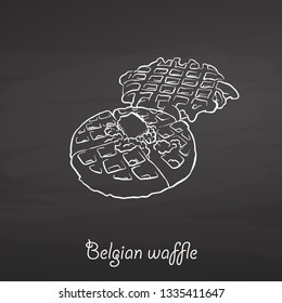 Belgian waffle food sketch on chalkboard. Vector drawing of Waffle, usually known in Belgium. Food illustration series.