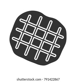 Belgian waffle glyph icon. Silhouette symbol. Negative space. Vector isolated illustration