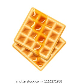 Belgian Waffle with honey. Dessert sweetness. Lunch cooking. Isolated white background. EPS10 vector illustration.