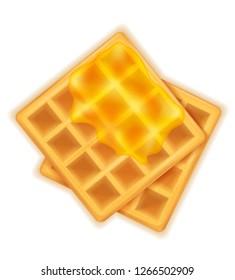 belgian waffle with honey sweet dessert for breakfast vector illustration isolated on white background