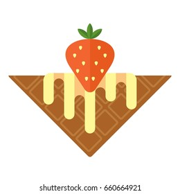 Belgian waffle with whipped cream and strawberries. Breakfast menu. Flat vector cartoon illustration. Objects isolated on a white background.