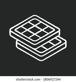Belgian waffles chalk white icon on black background. Classic breakfast idea. Authentic European food. Brussels and Liege waffle with deep pockets. Isolated vector chalkboard illustration