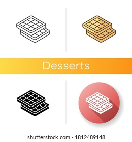 Belgian waffles icon. Classic breakfast idea. Authentic European food. Brussels and Liege waffle with deep pockets. Linear black and RGB color styles. Isolated vector illustrations