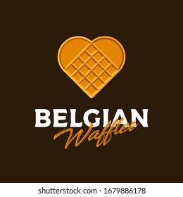 Belgian waffles logo. Waffle like heart. Love sweets emblem. Yummy emblem. Bakery and cafe logo.