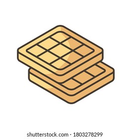 Belgian waffles RGB color icon. Classic breakfast idea. Authentic European food. Brussels and Liege waffle with deep pockets. Traditional dessert. Isolated vector illustration