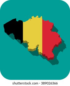 Belgium - 3D map and flag