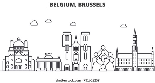 Belgium, Brussels architecture line skyline illustration. Linear vector cityscape with famous landmarks, city sights, design icons. Landscape wtih editable strokes