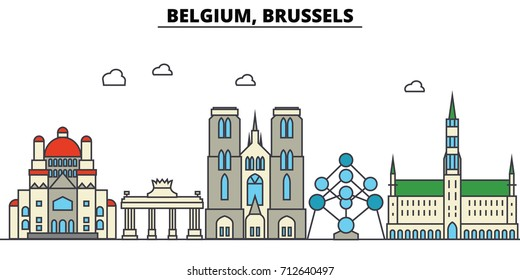 Belgium, Brussels. City skyline: architecture, buildings, streets, silhouette, landscape, panorama, landmarks. Editable strokes. Flat design line vector illustration concept. Isolated icons set