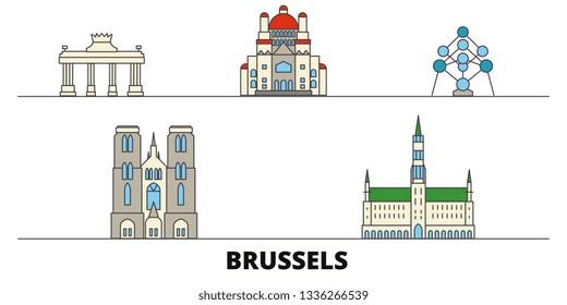 Belgium, Brussels flat landmarks vector illustration. Belgium, Brussels line city with famous travel sights, skyline, design.
