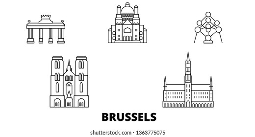 Belgium, Brussels line travel skyline set. Belgium, Brussels outline city vector illustration, symbol, travel sights, landmarks.