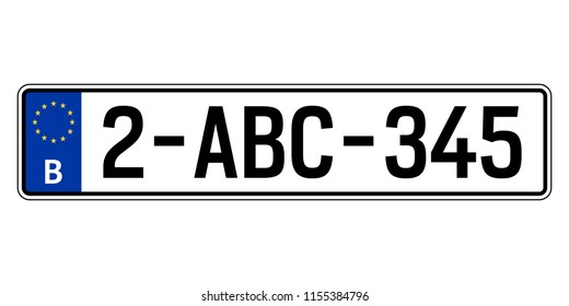Belgium car plate. Vehicle registration number