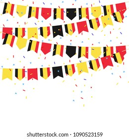 Belgium celebration bunting flags with Confetti And Ribbons on white background.vector illustration