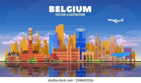 Belgium cities ( Brussels, Bruges, Antwerp, and other) skyline vector illustration at white background. Business travel and tourism concept with famous France landmarks.