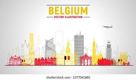 Belgium cities ( Brussels, Bruges, Antwerp, and other) line skyline vector illustration at white background. Business travel and tourism concept with famous France landmarks.