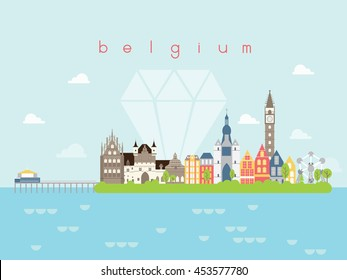 Belgium Famous Landmarks Infographic Templates for Traveling Minimal Style and Icon, Symbol Set Vector Illustration Can be use for Poster Travel book, Postcard, Billboard.
