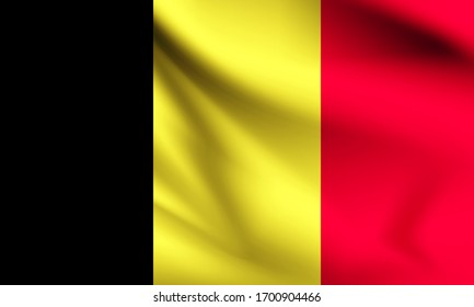 Belgium flag blowing in the wind. part of a series. Belgium waving flag.