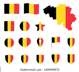 Belgium flag icons set, belgian flag symbol
