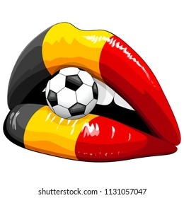 Belgium Flag Lipstick Soccer Supporters on Sensual Woman's Lips