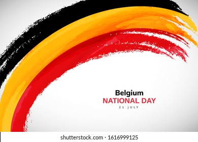 Belgium flag made in watercolor brush stroke background. Independence day of Belgium. Creative Belgium national country flag icon. Abstract watercolor painted grunge brush flag background.