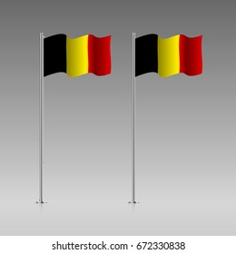 Belgium flag on the flagpole. Official colors and proportion correctly. High detailed vector illustration. 3d and isometry. EPS10