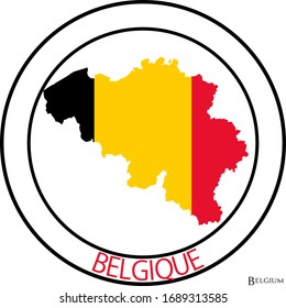 Belgium flag on map of country; isolated on white background. Vector logo sticker button